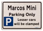Marcos Mini Car Owners Gift| New Parking only Sign | Metal face Brushed Aluminium Marcos Mini Model